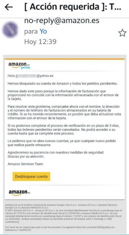 Amazon correos phishing