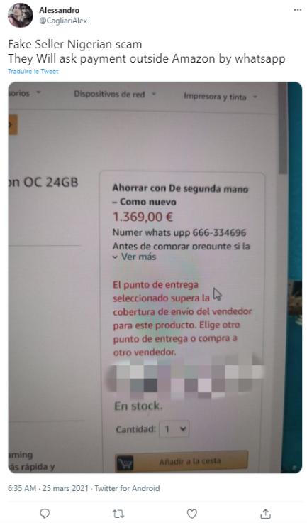 Amazon estafa de pagos